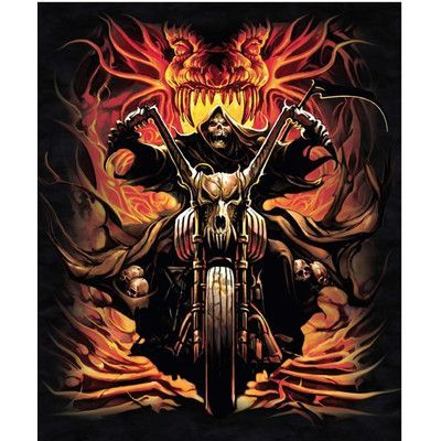 e54812e717 Ben and Jonah Royal Plush Extra Heavy Queen Size Grim Reaper on Bike -  Skull Collector Blanket