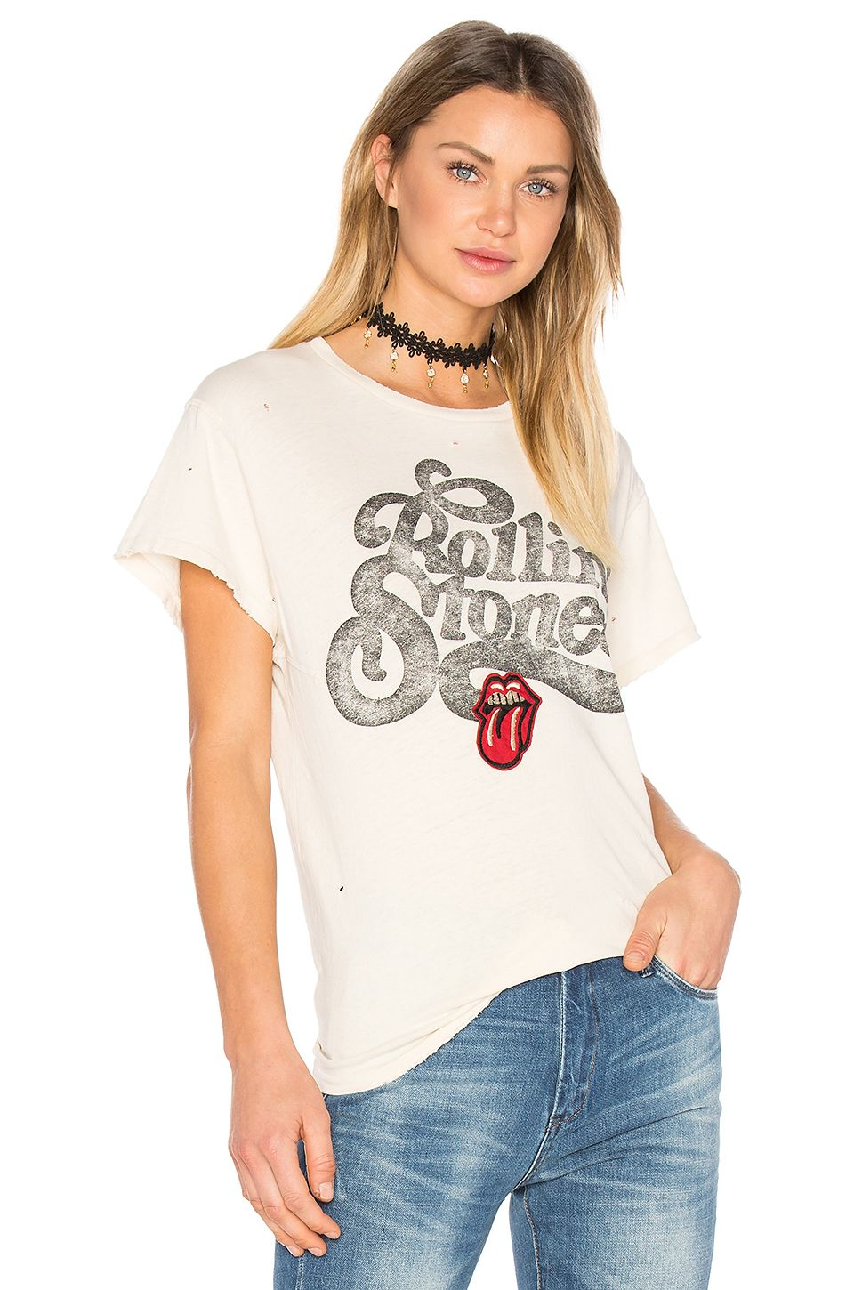 694206cc8 Madeworn Rolling Stones Patch Tee in Dirty White | REVOLVE | Style ...