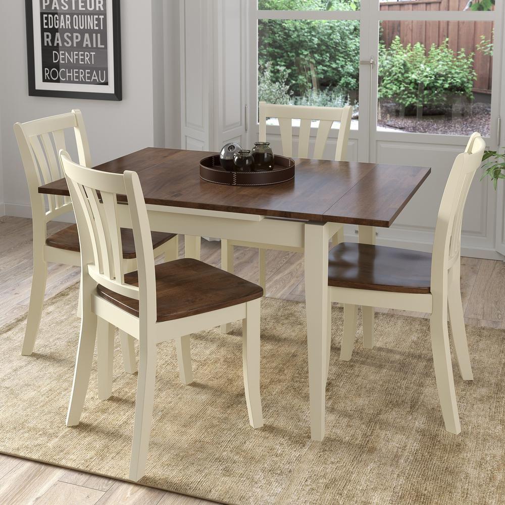 Pleasant Corliving Dillon 5 Piece Extendable Dark Brown And Cream Inzonedesignstudio Interior Chair Design Inzonedesignstudiocom