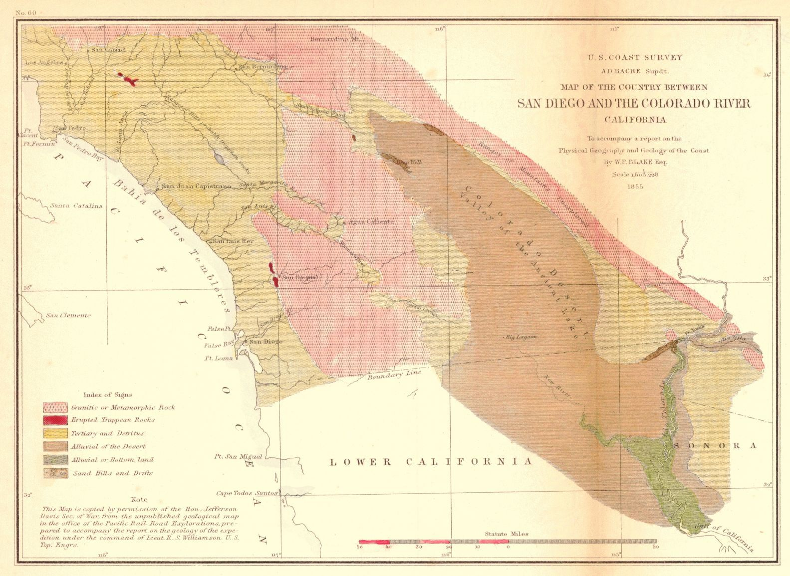 Map Of The Country Between San Diego And The Colorado River California 1855 U S