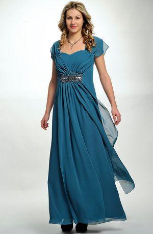 39f473c546d Elegantní dlouhé společenské šaty pro plnoštíhlé jsou vhodné i pro baculky