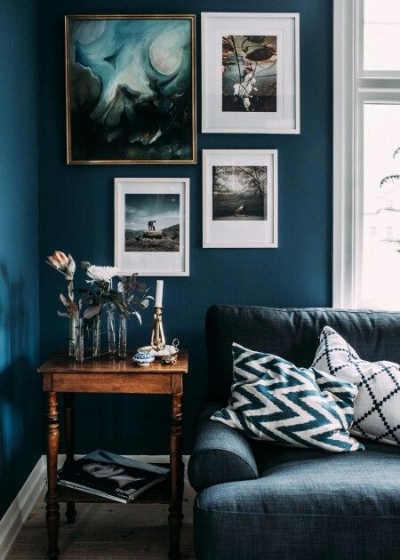 We these midnight blue calls, accented with bold white frames ...