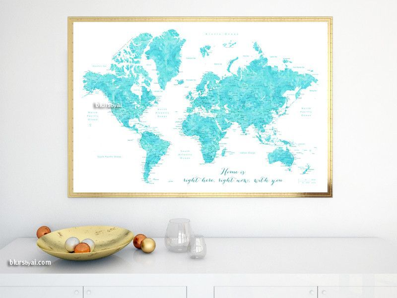 Printable world map poster in watercolor style featuring cities printable world map poster in watercolor style featuring cities capitals statesrge 36x24 gumiabroncs Gallery