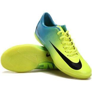 http://www.asneakers4u.com Nike Mercurial Vapor IX IC Indoor Soccer Shoes Yellow Tiffany Blue Black
