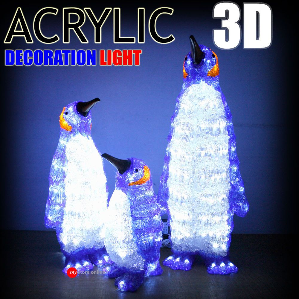 beautiful 3d acrylic penguin set 280 led outdoor christmas light home decorating - Penguin Outdoor Christmas Decorations