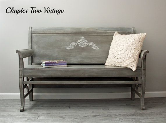 Swell Sold Hand Painted Wood Bench Made From A Vintage Headboard Machost Co Dining Chair Design Ideas Machostcouk