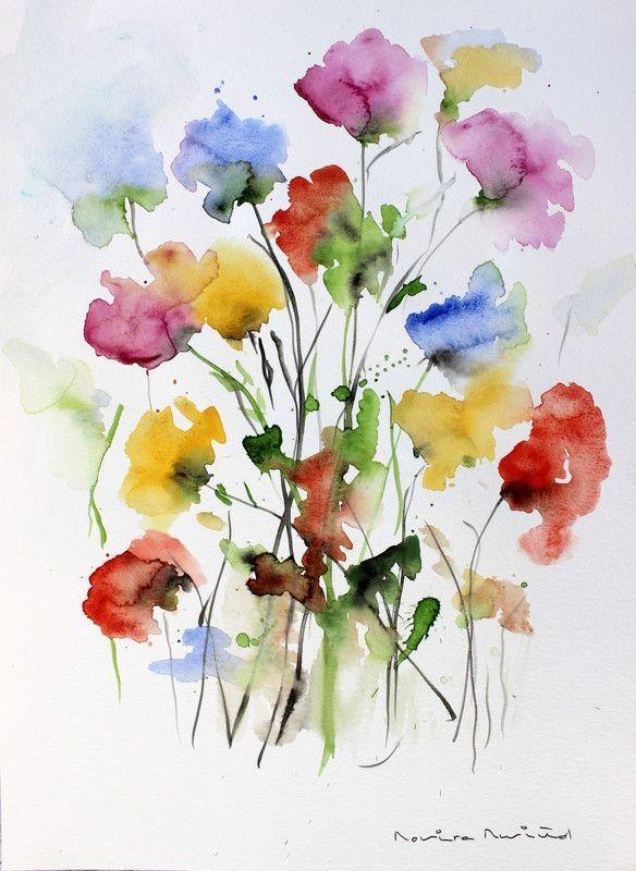 BLUMEN / BLUMEN JOSE MARIA ROVIRA RUSIÑOL - Malerei Kunst #wasserfarbenkunst
