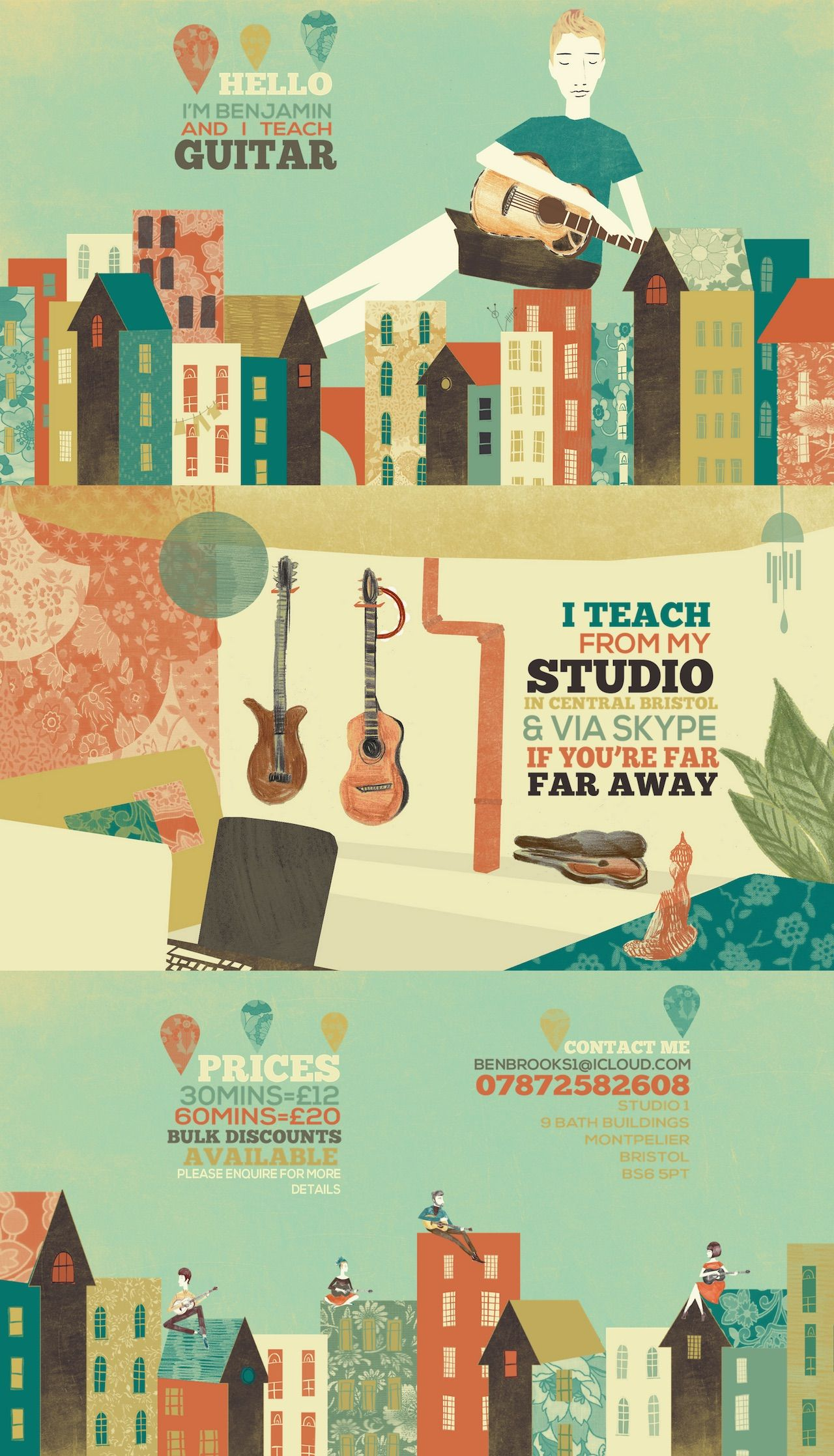 "Wonderful One Pager promoting guitar tuition by Bristol-based musician, Benjamin Brooks. The site is just overflowing with character from the beautiful custom illustrations (of Bristol) by Emily Holmes. I was also so surprised when resizing my browser to see how well the unique layout adapted to smaller screens. Congrats on being our first ""Most Loved"" One Pager of 2015!"