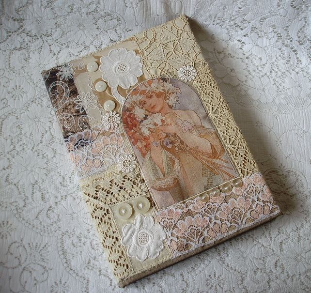 Collage Style Book Cover : Inspiration fabric collage covered journal by folksy