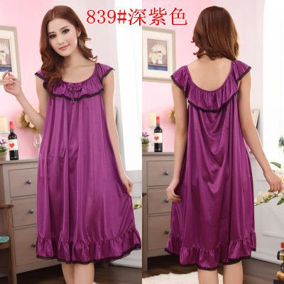 ce221be8dbb 9 Candy Colors Very Loose Plus Size Solid Lingerie Bow Long Satin Lace  Ruffle Kimono Intimate Sleepwear Robe Night Gown Sexy