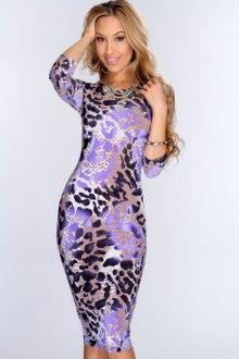 acac07cd2c Purple Leopard Print Knee Length Bodycon Dress Animal Print Prom Dresses