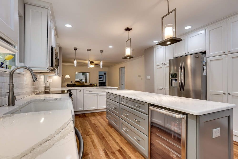 Get kitchen design ideas from pictures of white and grey kitchen cabinets with Cambria Brittanica quartz kitchen countertops by Reico Kitchen u0026 Bath. & Transitional Kitchen Design Woodbridge VA | Andy and Kimmer ...