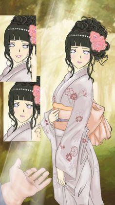 Image result for hinata hairstyle yukata