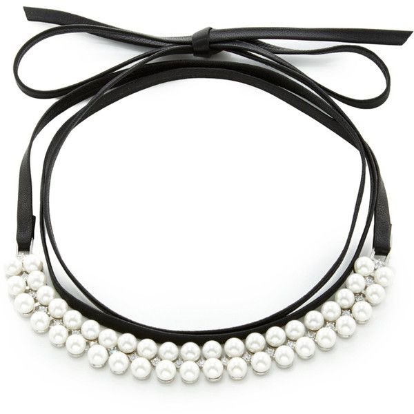 Fallon Monarch Pearly Leather Choker Necklace, Black
