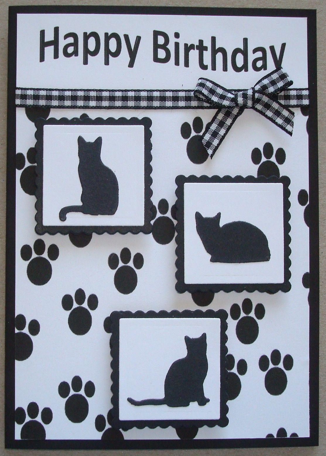 B040 Hand Made Birthday Card Using Io Cat Dies Cat Birthday Card Cat Cards Handmade Creative Cards