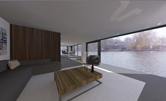drijvende villa woonboot interieur ontwerp door architect amsterdam floating home