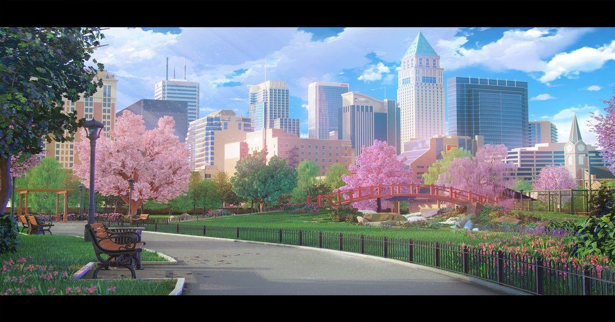 Park by goliat gashi imaginarycityscapes anime