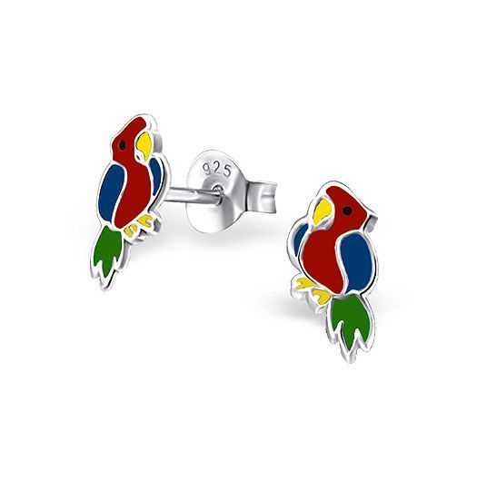925 Sterling Silver Parrot Colorful Ear Studs