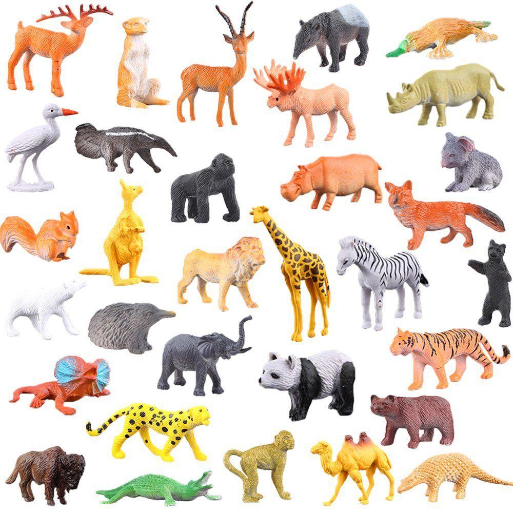 Animaux En Plastique Jouet figures animaux, 54 pièces mini jouets animaux maquis, monde