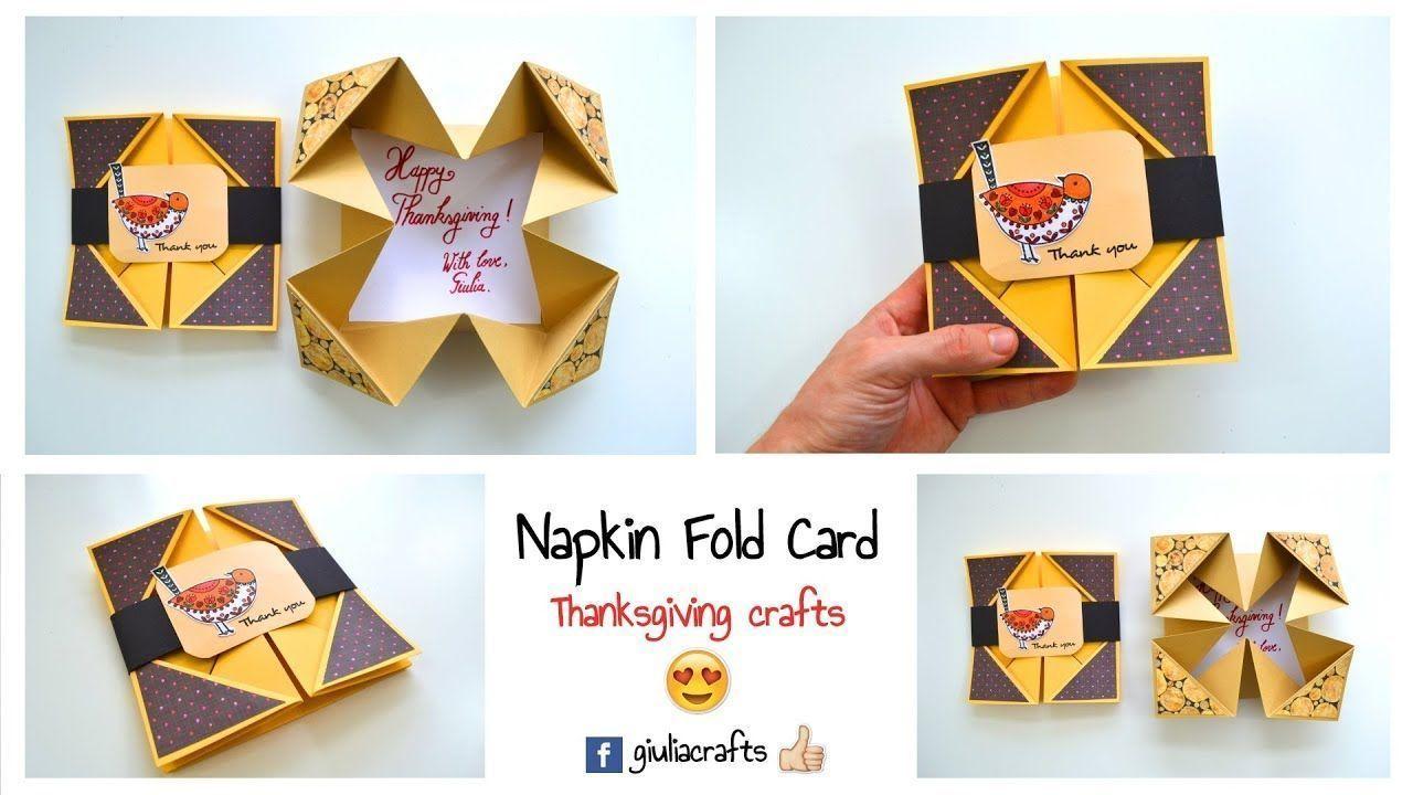 DIY Crafts - Thanksgiving Crafts DIY - Napkin Fold Card Instructions - Greeting ...,  #Card #... #napkinfoldingideas