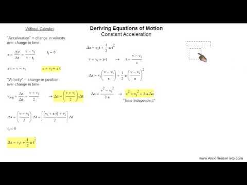 How To Derive Equations Of Motion With And Without Calculus