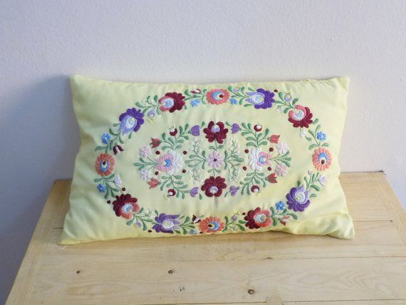 Hungarian decorativ Kalocsa hand embroidered floral pattern   Etsy