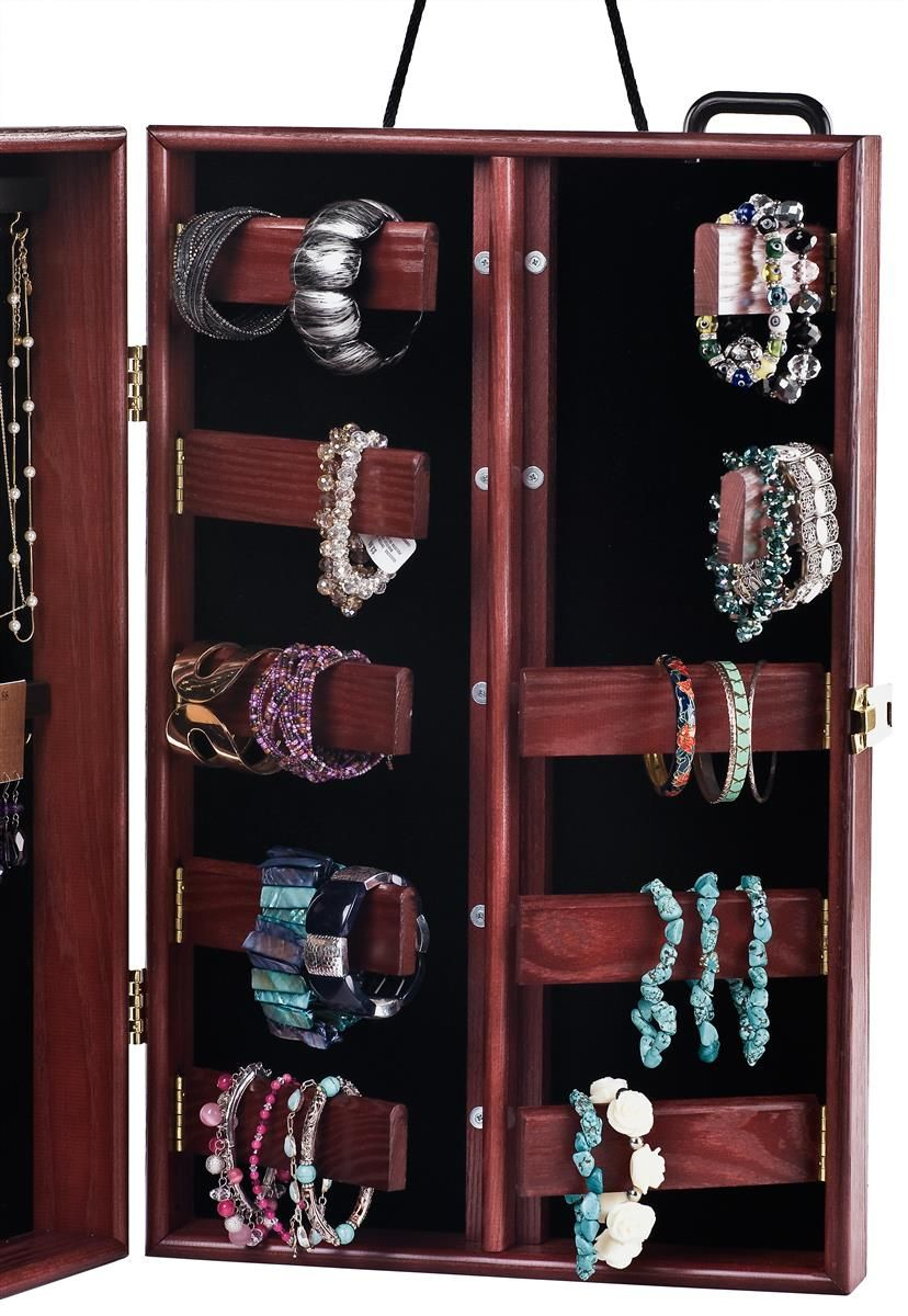 Portable Jewelry Display Case : portable, jewelry, display, Portable, Jewelry, Hooks, Bracelet, Bars,, Velvet, Interior, Cherry, Jewerly, Displays,, Display, Case,, Cases
