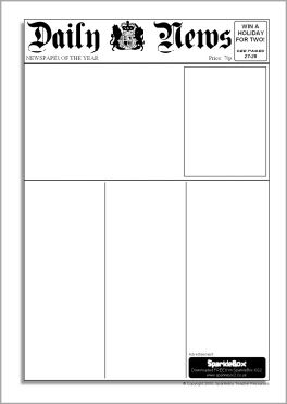 blank newspaper template for school project