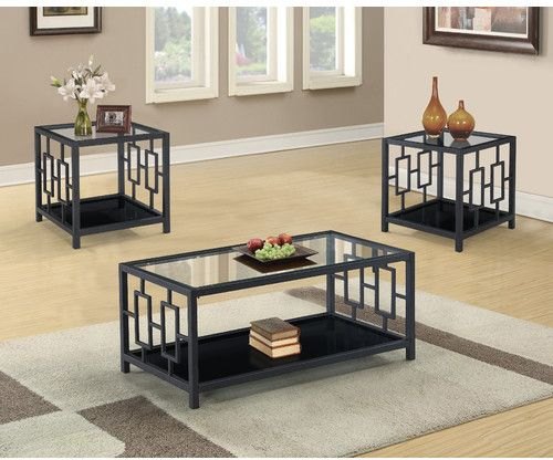 World Menagerie Johari 3 Piece Coffee Table Set Com Imagens