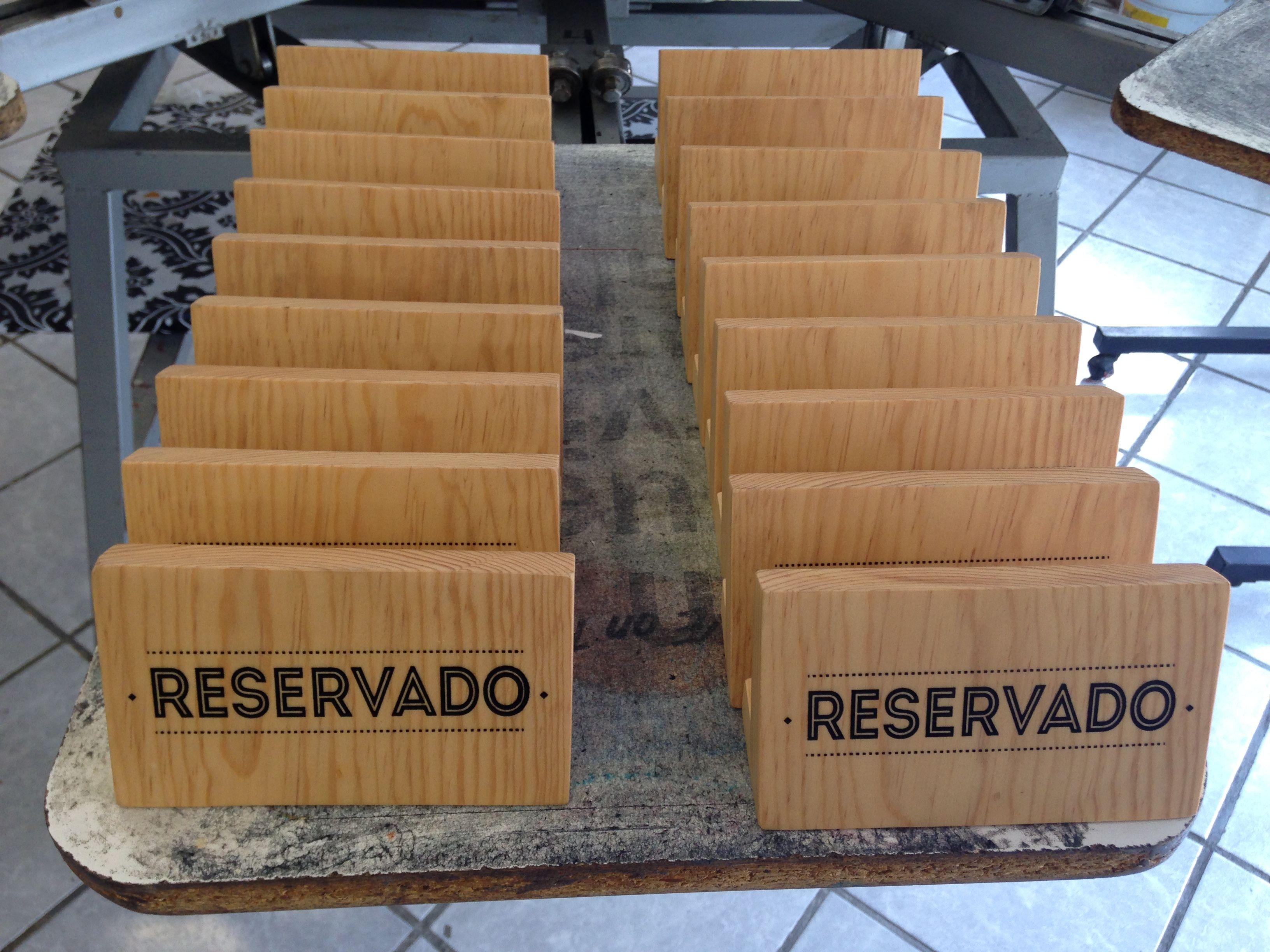Letreros de reservado madera impreso en serigraf a - Letreros en madera ...