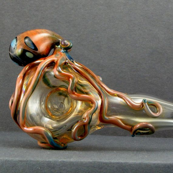 420+Octopus Pipe Glass Spoon  Fumed Color Changing Hand Blown   Etsy