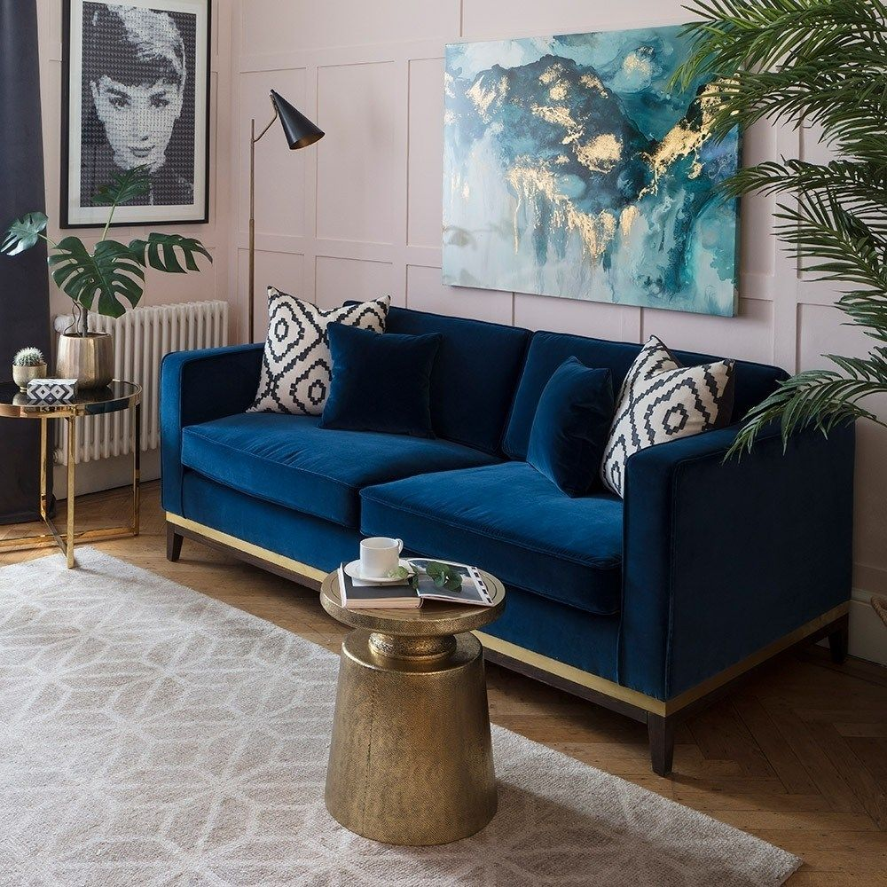 How To Use Classic Blue Pantone S Colour Of The Year 2020 The Interior Editor Velvet Sofa Living Room Blue Couch Living Room Blue Sofas Living Room