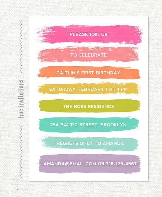 Rainbow Brushstrokes Birthday Invitation Pastel By Hueinvitations