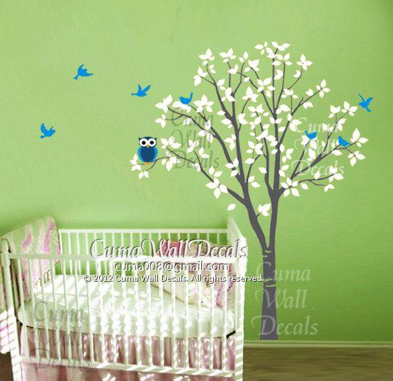Nursery Wall Decal Owl Children Nature Green Tree Wall Mural Tree Wall  Decal Wall Sticker Vinyl