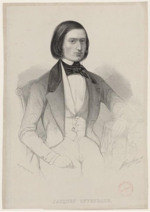 Jacques Offenbach [born Jakob Eberst] (1819-1880), lithograph (1846), by Hermann Raunheim (1817-1895).