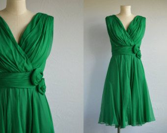 Vintage 60s Dress / 1960s Miss Elliette Emerald Green Draped Chiffon Cocktail Party Dress