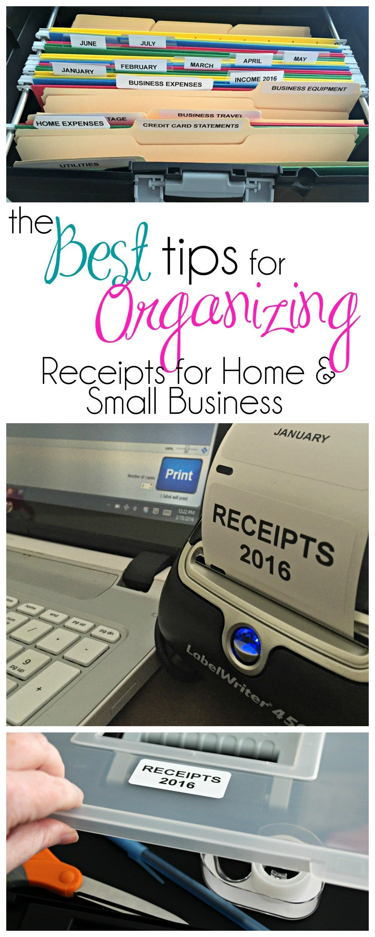 organizing receipts for tax time small businesses pinterest