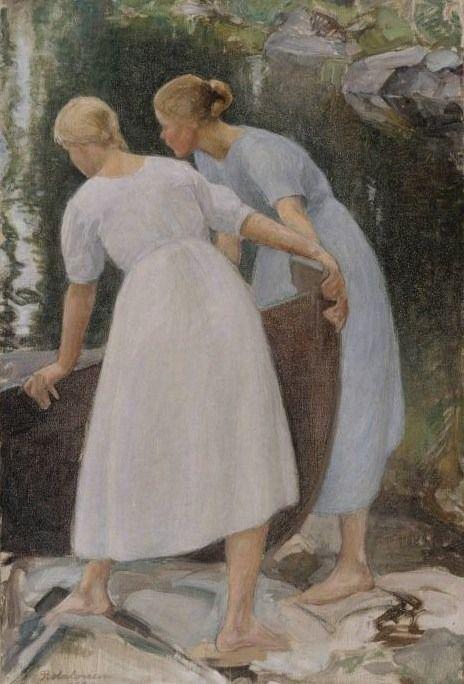 """""""Tyttöjä työntämässä venettä vesille (Girls pushing the boat from the shore) 1925"""" Pekka Halonen (23 September 1865 – 1 December 1933)"""