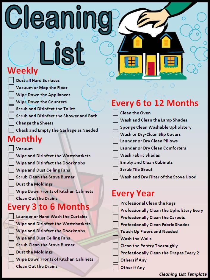 House cleaning checklist cleaning list template download for Checklist for building a new house