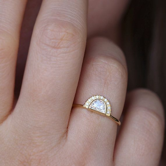 Engagement Ring Half Moon Diamond Ring Diamond Engagement Etsy Bohemian Engagement Ring Engagement Rings Sapphire Budget Friendly Engagement Rings