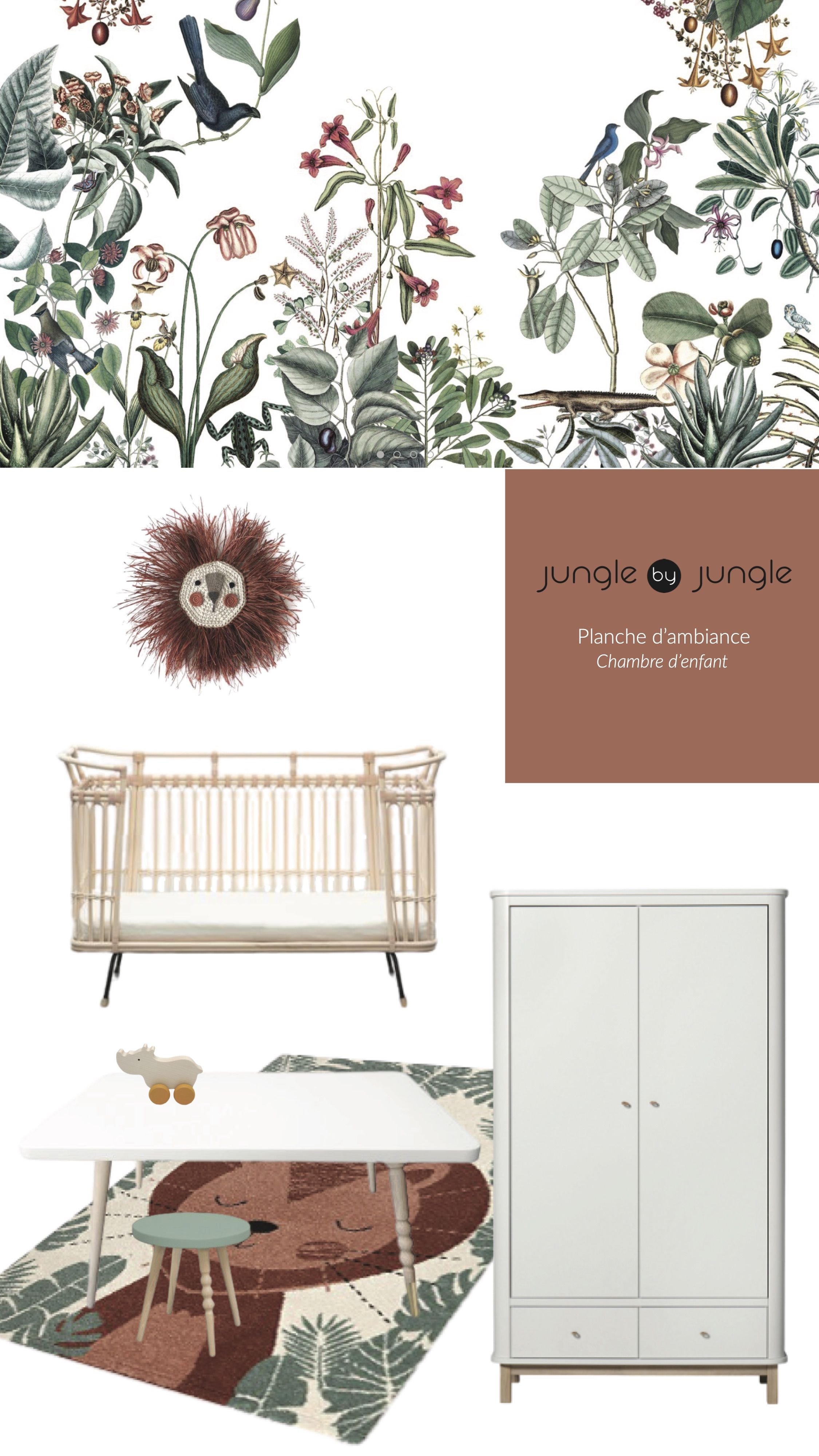 Décorez une jolie chambre de bébé aux tonalités chaudes et colorées ! Découvrez toutes nos idées. #planchetendance #plancheambiance #chambrebebe #kidsroom #babyroom #colours #décoration #wallpaper #junglebyjungle #bienfaitparis #bermbach_handcrafted #oliverfurniture