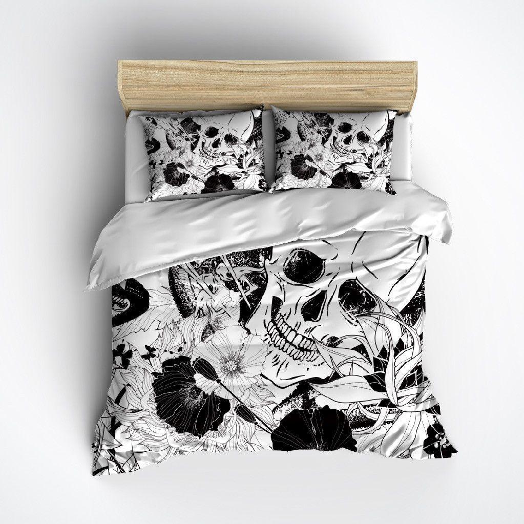 Striking Black and White Skull Bedding Duvet bedding