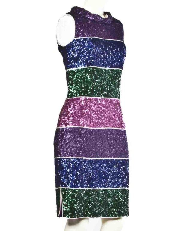 8c84833e309 Valentino Boutique Vintage 1960s Striped Metallic Sequin Color Block Silk  Sheath Dress