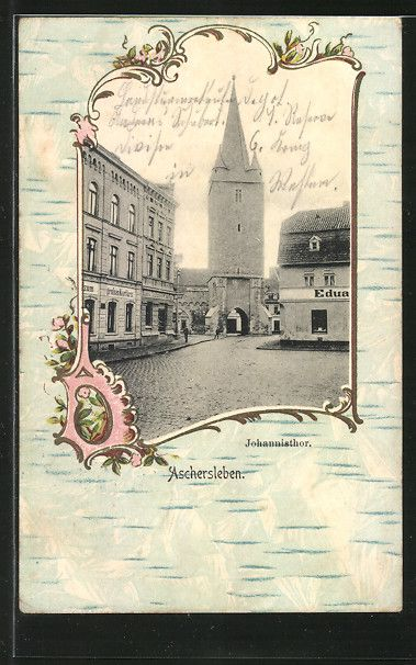 Passepartout-Lithographie Aschersleben, Johannistor mit Gasthaus zum großen Kurfürsten  (Postkarte 1916)