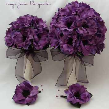 Wedding posies absolutely purplelicious pinterest purple silk anemone wedding flower package bridal bouquet maid of honor bouquet grooms groomsman boutonniere purple silk flower wedding mightylinksfo