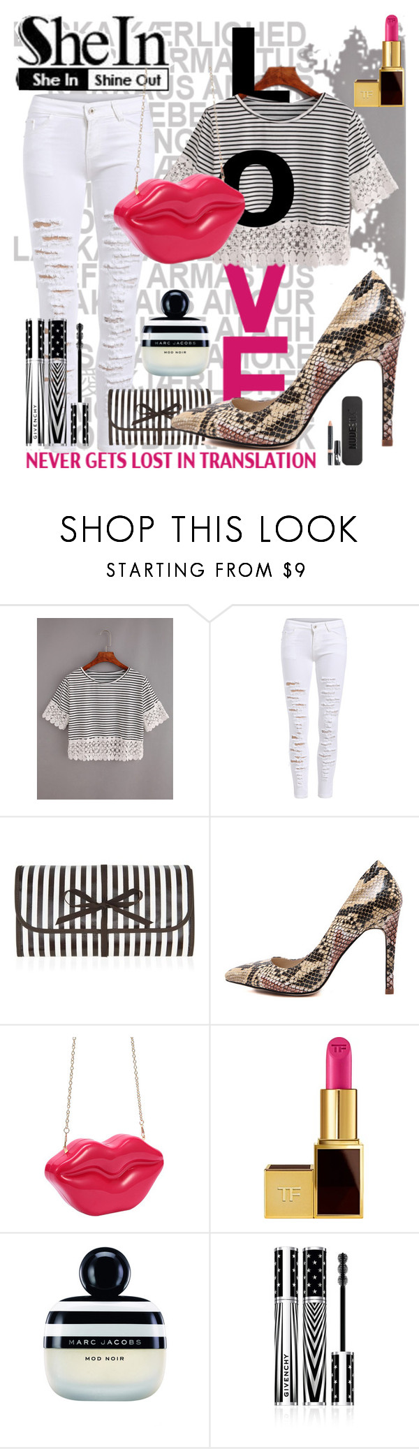 """LOVE IN SHEIN"" by beleev ❤ liked on Polyvore featuring Henri Bendel, Tom Ford, Marc Jacobs, Givenchy and Nudestix"