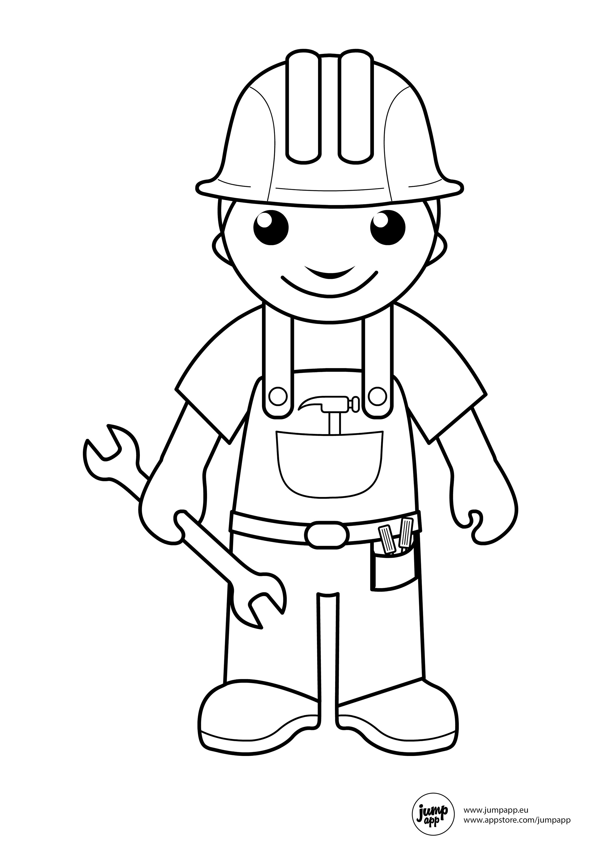 Builder Community Workers Coloring Sheets Community Helpers