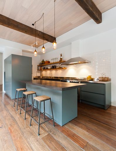 Industrial Kitchen Style: Gray/blue Paint, Exposed Beams, Simple Pendant  Lighting, Open Shelves