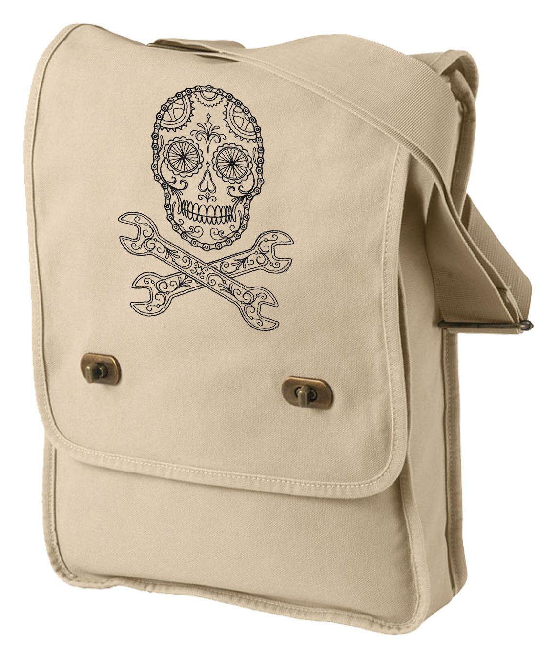 Bike Skull Embroidered Canvas Field Bag