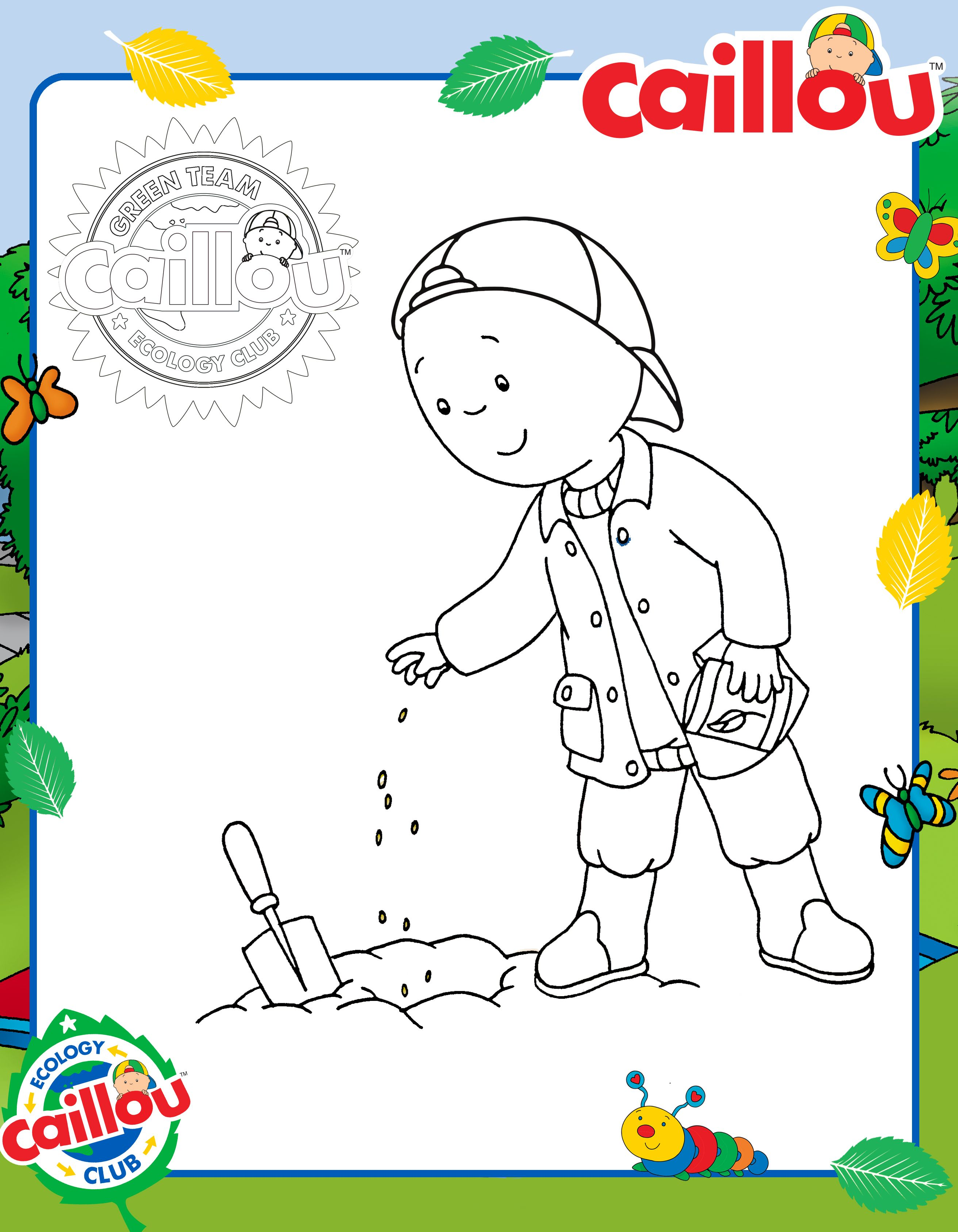 Caillou Plants a Tree Coloring Sheet! #EarthDay | Earth Month ...
